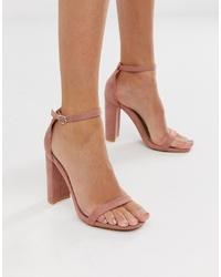 rosa Leder Sandaletten von Glamorous