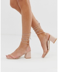 rosa Leder Sandaletten von Public Desire