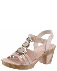 rosa Leder Sandaletten von Rieker