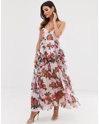 rosa Maxikleid mit Blumenmuster von Forever U