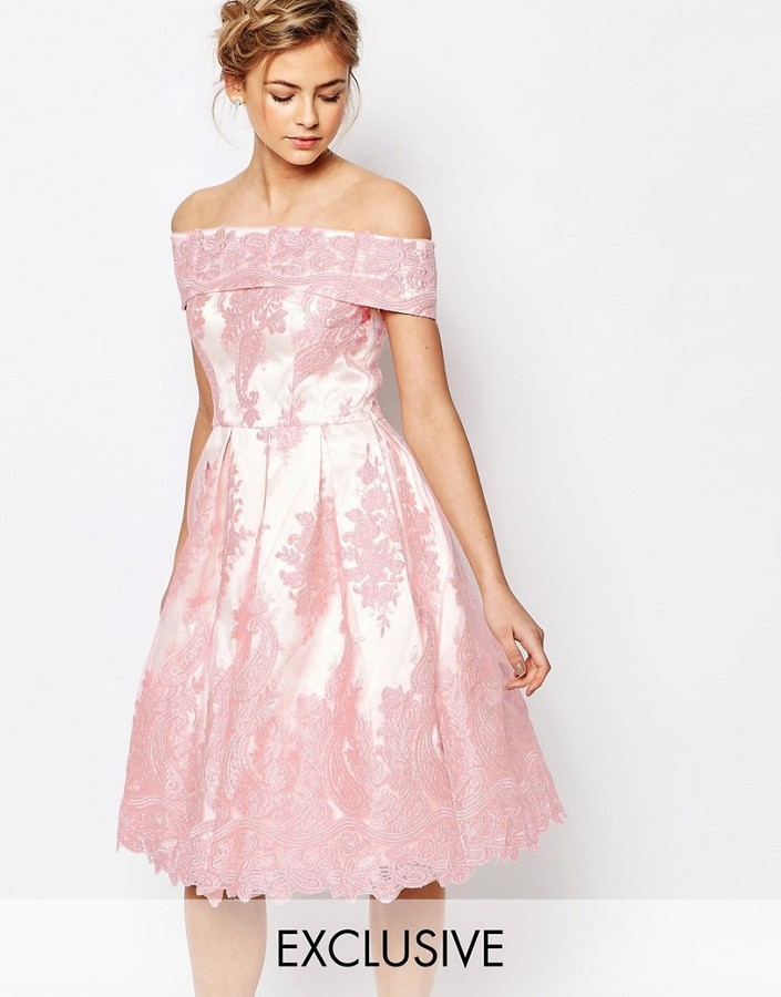 Midi kleid spitze rosa