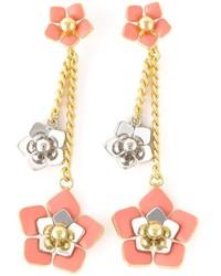 rosa Ohrringe mit Blumenmuster von Fendi