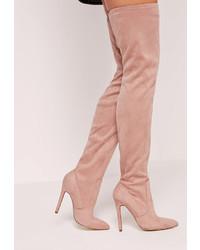 rosa Overknee Stiefel aus Wildleder