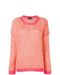 rosa Pullover mit einem Rundhalsausschnitt mit Argyle-Muster