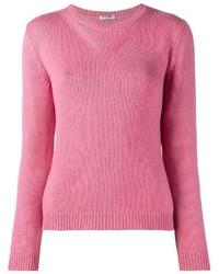 rosa Pullover mit einem Rundhalsausschnitt von Miu Miu