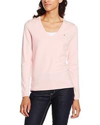 rosa Pullover mit einem V-Ausschnitt von Tommy Hilfiger