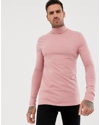 rosa Rollkragenpullover von ASOS DESIGN