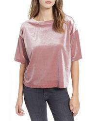 rosa Samt T-Shirt mit einem Rundhalsausschnitt