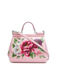 rosa Satchel-Tasche aus Leder mit Blumenmuster von Dolce & Gabbana