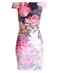 rosa schulterfreies Kleid mit Blumenmuster von Ted Baker