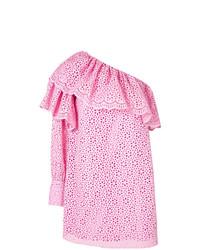 rosa schulterfreies Kleid mit Lochstickerei von MSGM