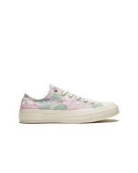 rosa Segeltuch niedrige Sneakers mit Blumenmuster von Converse