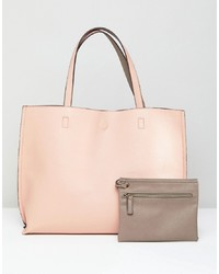 rosa Shopper Tasche aus Leder von Street Level