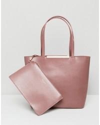rosa Shopper Tasche aus Leder von Ted Baker