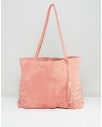 rosa Shopper Tasche aus Wildleder von Asos