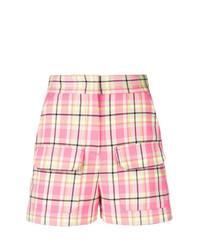 rosa Shorts mit Schottenmuster von MSGM