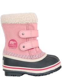 rosa Stiefel aus Wildleder