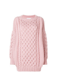 rosa Strick Oversize Pullover