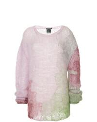 rosa Strick Oversize Pullover von Ann Demeulemeester