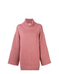 rosa Strick Oversize Pullover von Fine Edge