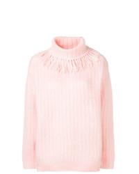 rosa Strick Oversize Pullover von Miu Miu