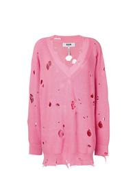 rosa Strick Oversize Pullover von MSGM