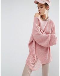 rosa Strick Oversize Pullover