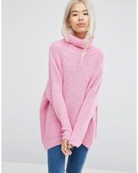 rosa Strick Oversize Pullover von Weekday