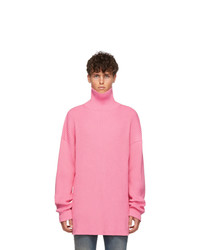 rosa Strick Rollkragenpullover
