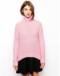 rosa Strick Rollkragenpullover von BZR