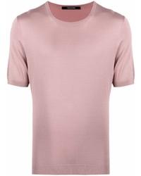 rosa Strick Seide T-Shirt mit einem Rundhalsausschnitt von Tagliatore