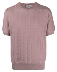 rosa Strick T-Shirt mit einem Rundhalsausschnitt von Canali