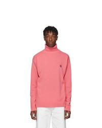rosa Strick Wollrollkragenpullover
