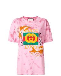 rosa Mit Batikmuster T-Shirt mit einem Rundhalsausschnitt von Gucci