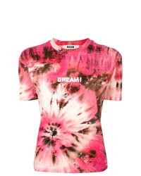 rosa Mit Batikmuster T-Shirt mit einem Rundhalsausschnitt von MSGM
