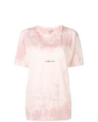 rosa Mit Batikmuster T-Shirt mit einem Rundhalsausschnitt von Saint Laurent