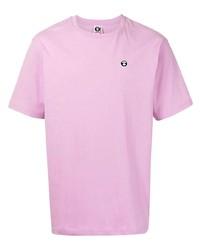 rosa T-Shirt mit einem Rundhalsausschnitt von AAPE BY A BATHING APE