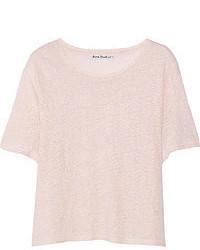 rosa T-Shirt mit einem Rundhalsausschnitt von Acne Studios