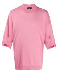 rosa T-Shirt mit einem Rundhalsausschnitt von Maison Flaneur