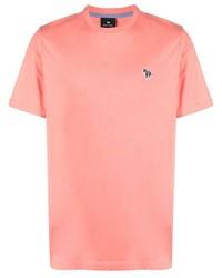 rosa T-Shirt mit einem Rundhalsausschnitt von Paul Smith