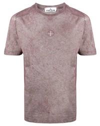 rosa T-Shirt mit einem Rundhalsausschnitt von Stone Island