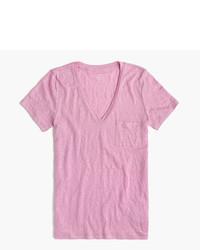 rosa T-Shirt mit einem V-Ausschnitt