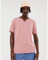rosa T-Shirt mit einem V-Ausschnitt von ASOS DESIGN