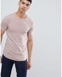 rosa T-shirt mit einer Knopfleiste von ASOS DESIGN