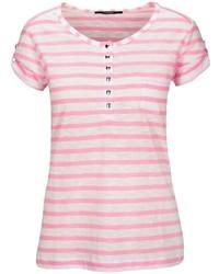 rosa T-shirt mit einer Knopfleiste von Clarina