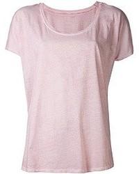 rosa T-Shirt mit Rundhalsausschnitt