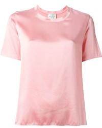rosa T-Shirt mit einem Rundhalsausschnitt von Forte Forte