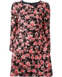 rosa und schwarzes Freizeitkleid mit Blumenmuster von Marni