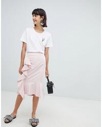 rosa vertikal gestreifter Bleistiftrock von In Wear