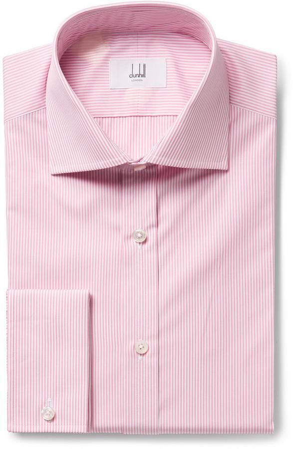 rosa vertikal gestreiftes Businesshemd von Dunhill